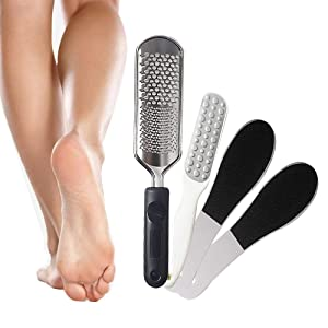Pedicure Foot File Kit Foot Rasp Callus Remover, Professional Foot Scraper for Dead Skin Remover - 1 X Stainless Steel Colossal Foot Scrubber Grater, 3 X Double-Sided Foot Exfoliator Rasp