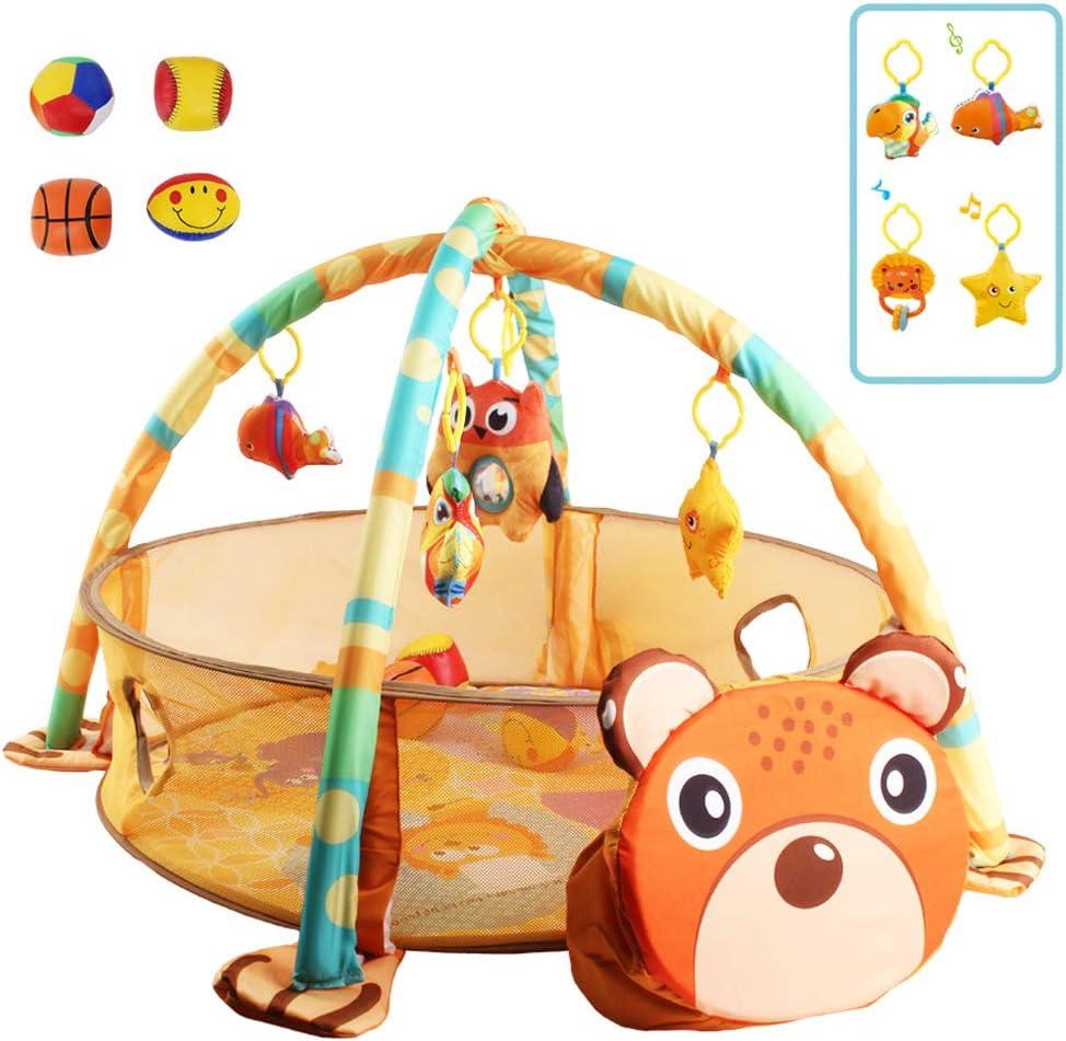 deAO Parque de Juegos Infantil Corralito Feliz para Bebé Centro de Actividades Incluye Almacenamiento, Sonajeros, Móvil Y 4 Pelotas de Material Suave (Oso)