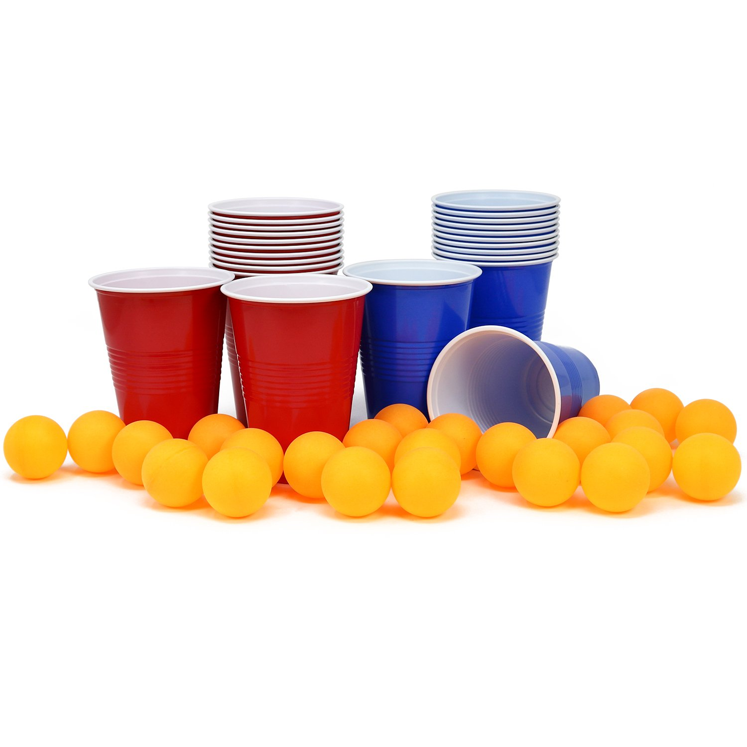 COM-FOUR 48-piece Beer Pong Set, Beer Pong drinking game with 24 cups and 24 balls (048 pieces cups + balls)
