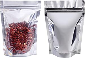 100pcs 6x8in Mylar Bags with Ziplock, Resealable Smell Proof Bags Foil Pouch Bag, Stand Up Food Storage Bags for Food Self Sealing Storage Supplies, Lip Gloss Packaging Bags