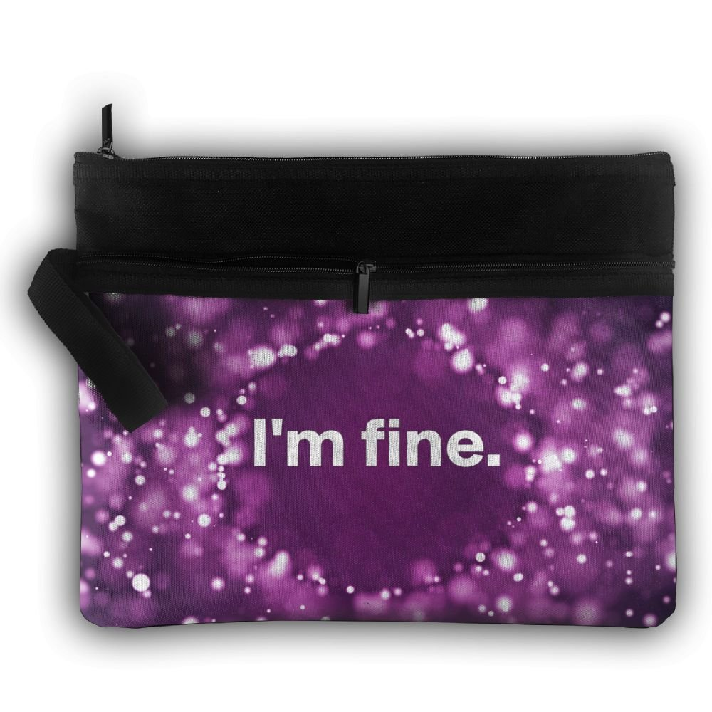 I'm Fine Double Layers Zipper Cosmetic Bag Makeup Brush Holder Bag