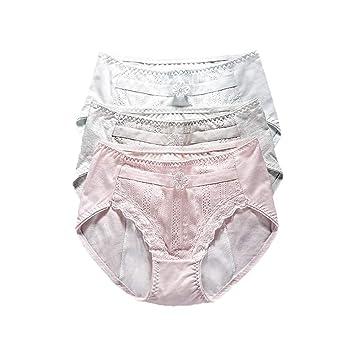 Pantalones fisiológicos de la cintura de las mujeres de algodón de color sólido de encaje Chica