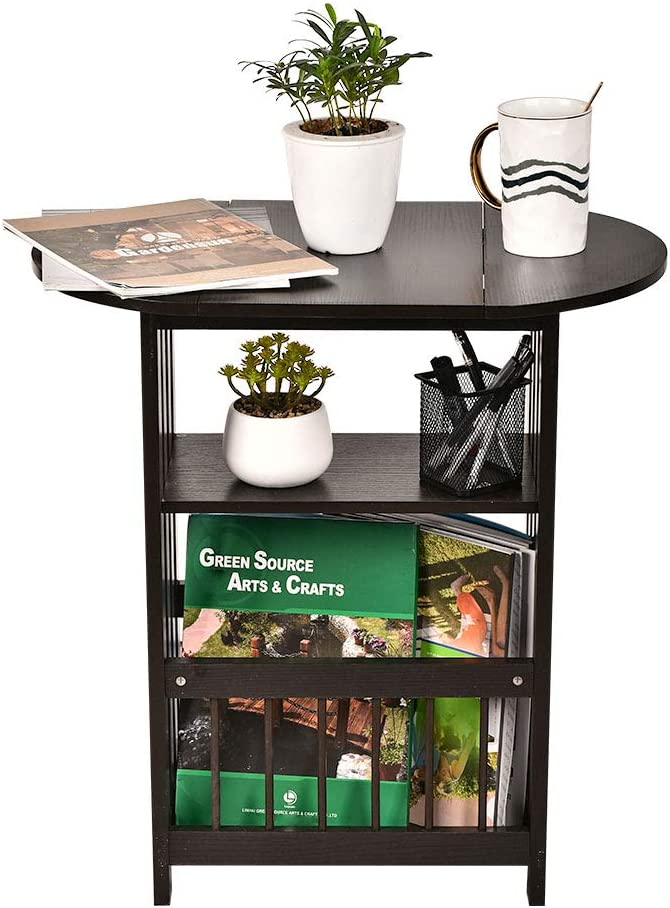 GIODIR Folding Side End Table Wood Magazine Rack, Storage Accent Table, Nightstand with Rotating Tabletop for Living Room, Bedroom, Home Office (Coffee)