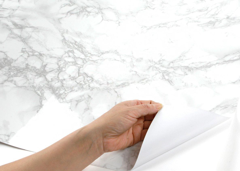 ROSEROSA Peel and Stick PVC Instant Marble Decorative Self-Adhesive Film Countertop Backsplash Napoleon Marble (PGS408 : 4.00ft X 6.56ft) by ROSEROSA (Image #5)