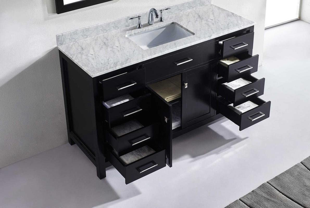 Virtu USA MS-2060-WMSQ-CG Caroline Bathroom Vanity 60 inches Cashmere Grey