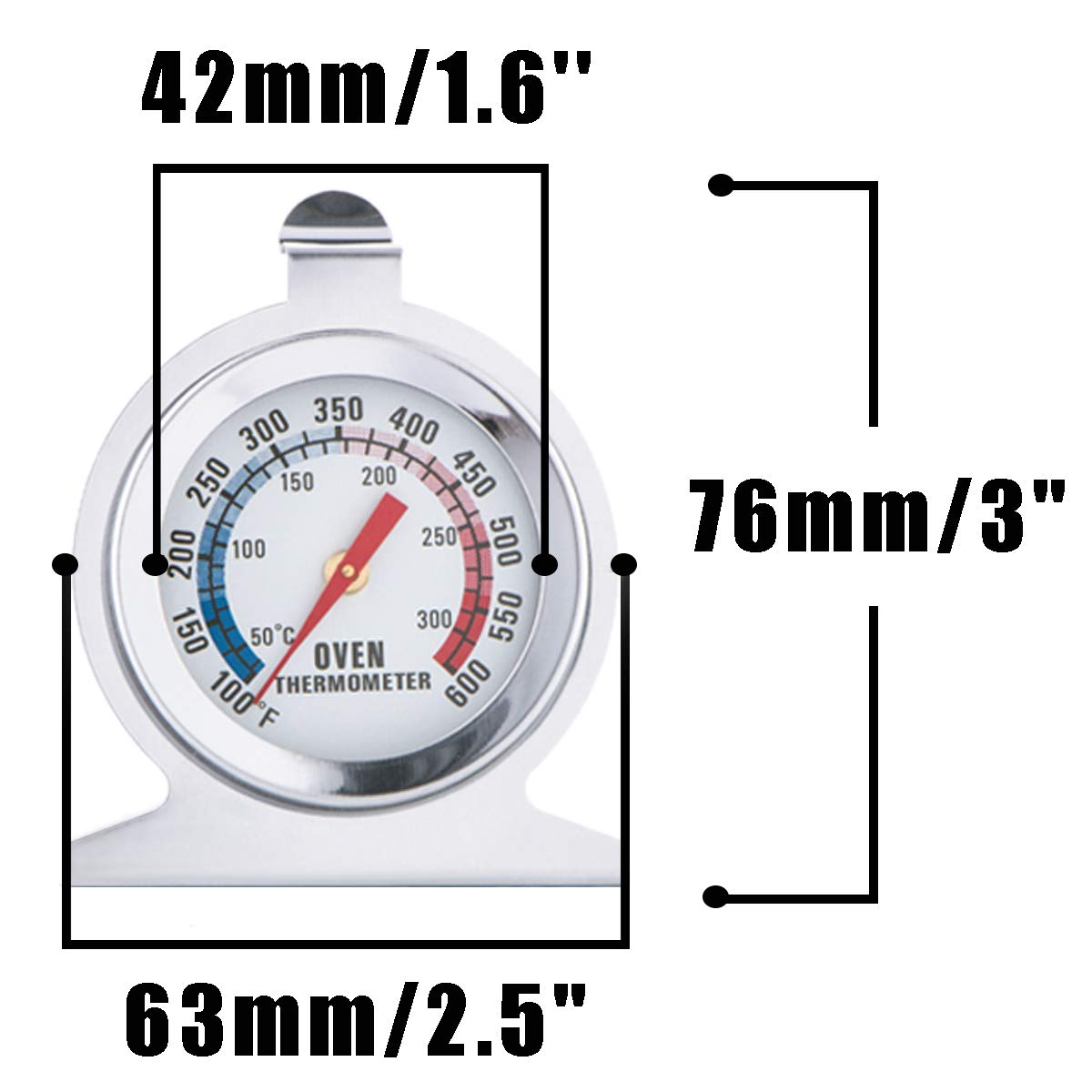 Oven Thermometer Dial Precision Monitoring Temperature Gauge for Kitchen Cooking Stainless Steel Hanging or Stand 2 Pack