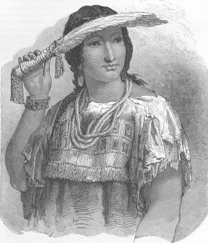 PORTRAITS. In Pawn Indian Village. Louisa, half-caste - 1880 - old print - antique print - vintage print - printed prints of Portraits ()