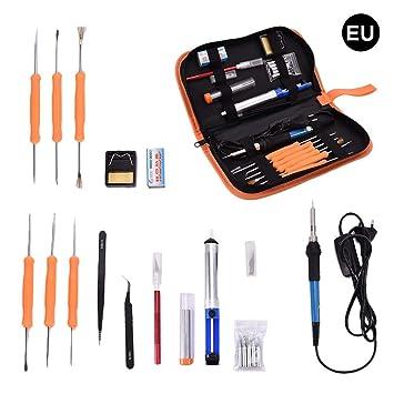 60W Set de Plancha electrica portatil, Herramienta de reparación de Soldadura de Temperatura Ajustable con