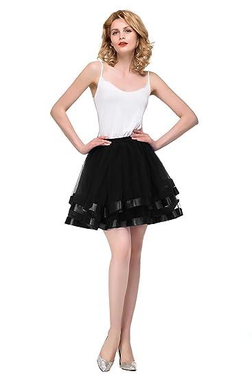 40e69c74d Vintage Women's 50s Rockabilly Petticoat Short Tutu Skirt Black at ...