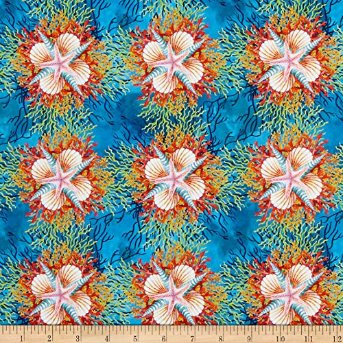 - In The Beginning Fabrics Calypso Shells Blue Fabric by the Yard