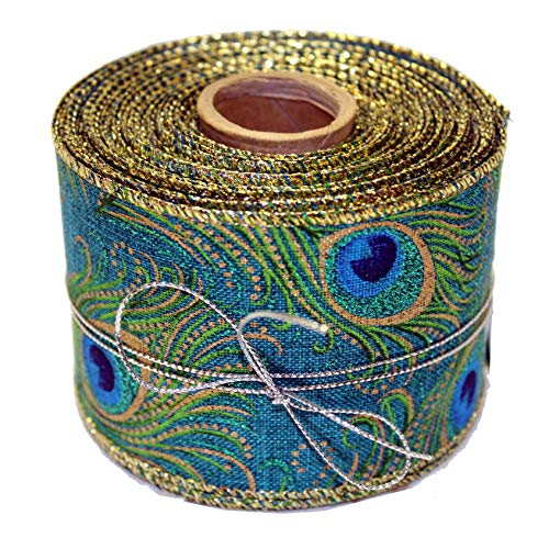 Peacock Mardi Gras Wired Ribbon - 2 1/2 inch x 10 Yards, Blue, Green, Gold, Feathers, Wedding, Party, Christmas Decorations, DIY Wreath, Swag, Garland, Boxing Day, Mother's Day (Gold Blue Fabric)