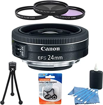 Canon EF-S 24mm f//2.8 STM Lens Lens Cap Holder Pouch 52mm UV Filter