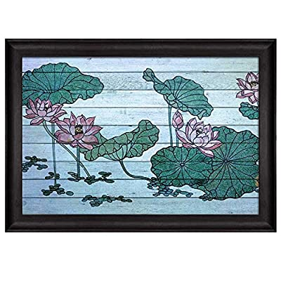 Delightful Work of Art, Illustration of Water Lilies on a Pond Over Blue Wood Panels Nature Framed Art, Created Just For You
