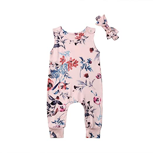 4d6dceb7f3bf8 Amazon.com: 2 Piece Toddler Kid Crewneck Sleeveless Romper Baby Girl  Chinoiserie Print Bodysuit Headband Outfit Sets Summer 0-24M: Clothing