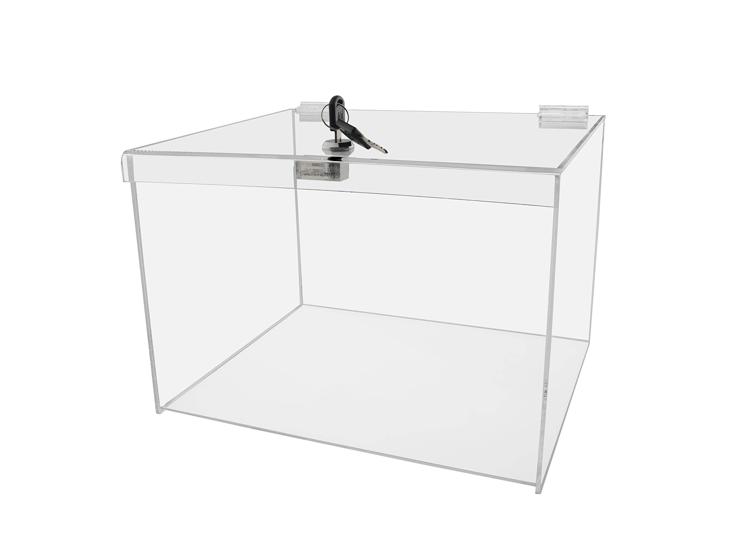 Marketing Holders Acrylic Lucite Security Show Case 12''w x 10''d x 8''h Locking Safe Box Donation Collectible Trinket Display Locking Case by Marketing Holders