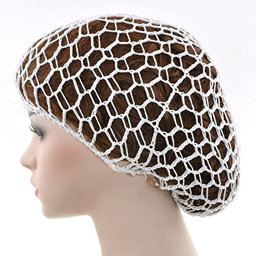 [Say's Headband - Women Lady Soft Rayon Snood Hair Net Crochet Hairnet Knit Hat Cap Hairnet New / White] (Costume Design For Rabbit Hole)