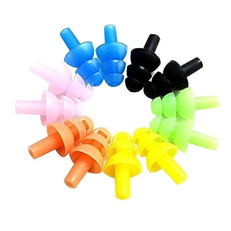 ROSENICE 6 Sets Sortierte Farbe Wasserdicht Silikon Schwimmen Ohrstöpsel und Nase Clip für Kinder und Erwachsene Ohr Nasensch