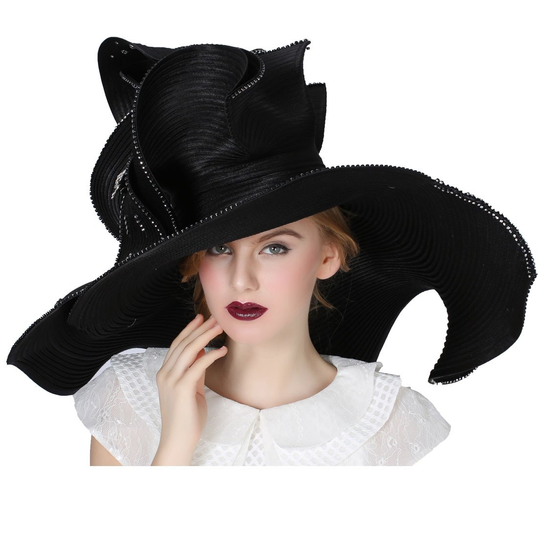 Koola's Black Women Church Hat Derby Big Wide Brim Wedding Hat Cocktail Tea Party Hat