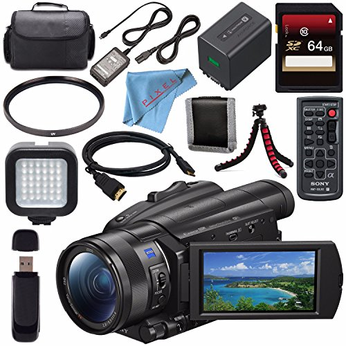 Sony FDR-AX700 4K Camcorder FDR-AX700/B + Sony 64GB SDXC Card + 62mm UV Filter + Carrying Case + Flexible Tripod + Micro HDMI Cable + LED Light Bundle