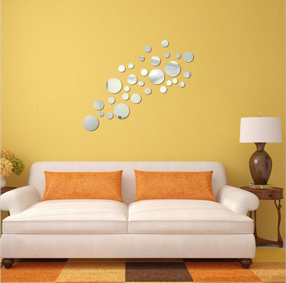 Amazon.com: CUGBO Mirror Wall Sticker Modern Creative Round 3D ...