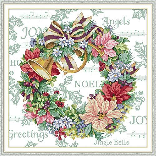 Joy Sunday Cross Stitch Kit 14CT Stamped Embroidery Kits Precise Printed Needlework - Holiday Wreath 54×54CM (Embroidery Stamped Holiday)