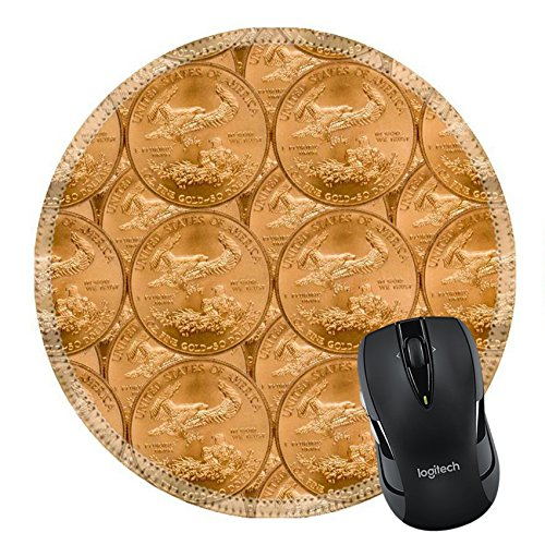 Price comparison product image MSD Natural Rubber Mousepad Round Mouse Pad/Mat: 11279742 Gold Eagle one ounce coins in a patterns and stacked on each row
