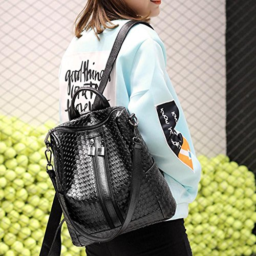 Capacity Travel Backpacks Large Weave Prosperveil Schoolbag Bag PU Shoulder Girls Women wqXSFfa