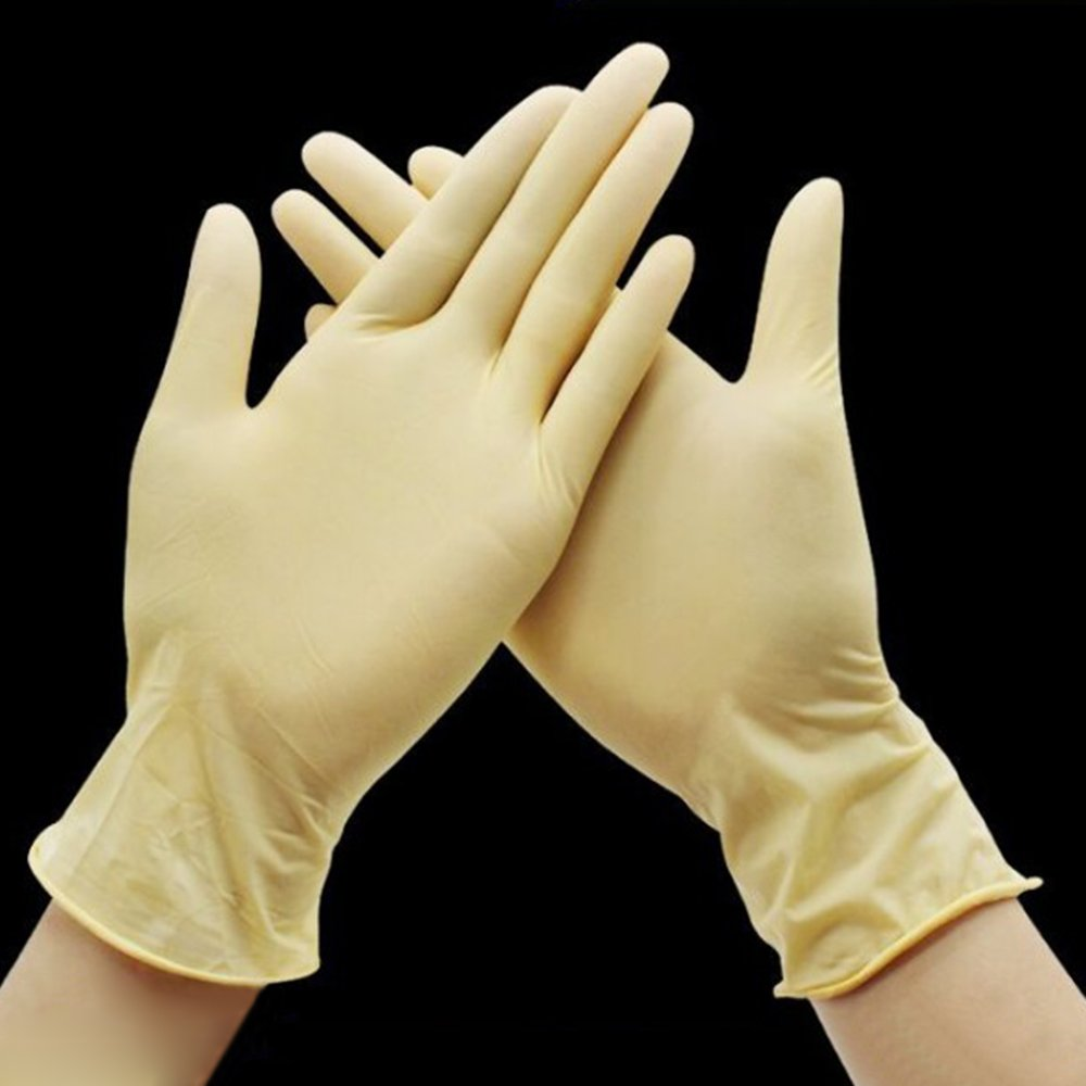 LINGJUN Cotton Latex Gloves Comfortable Application Work Inspection Coin Light White Jewelry (Latex-1Pcs, L)