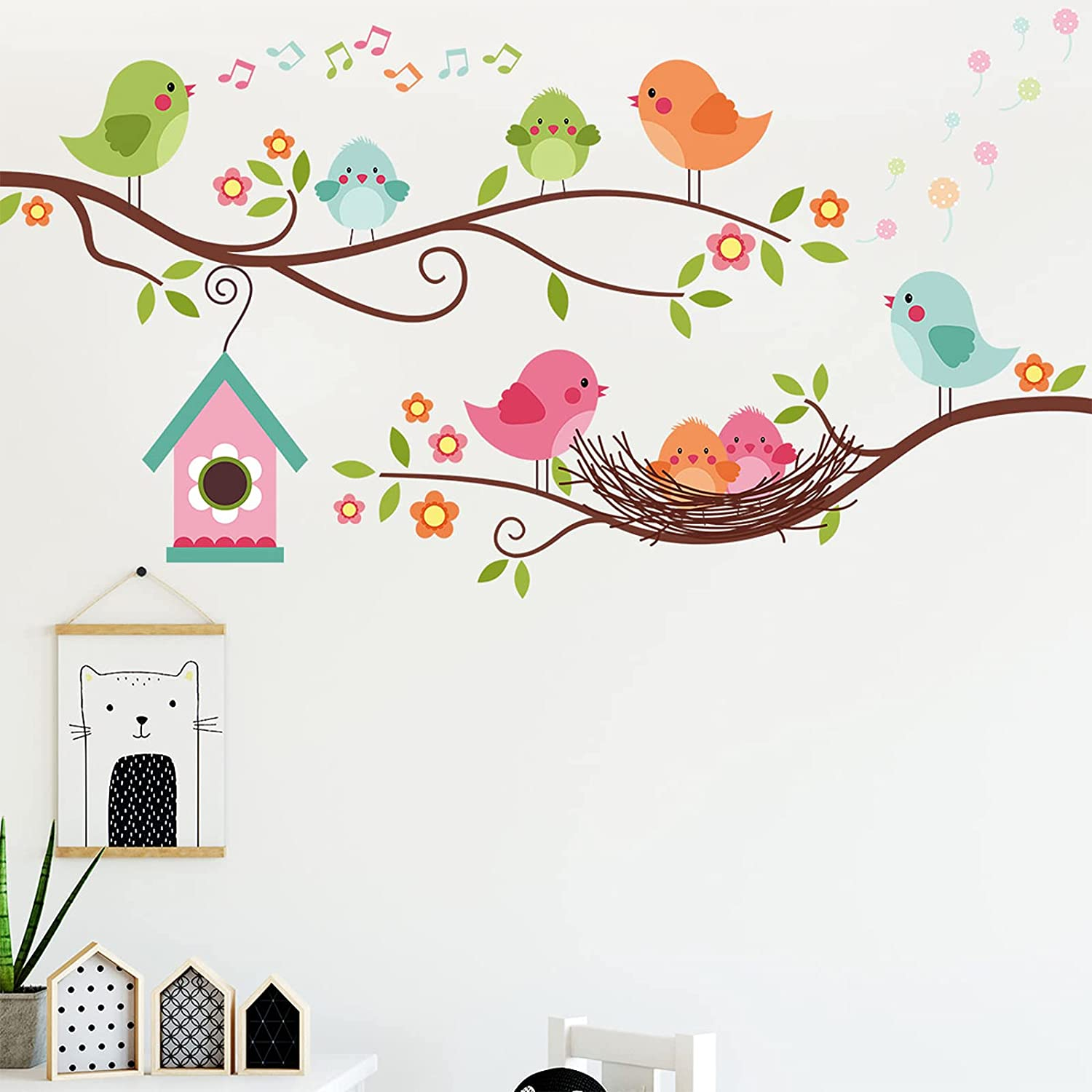 Colorful Robin Bird Wall Decals, Lovely Birds Singing on The Tree Branch Wall Stickers, Tree Vines Birdhouse with Flowers Wall Stickers, Removable DIY Art Wall Decors for Kids Bedroom Baby Nursery