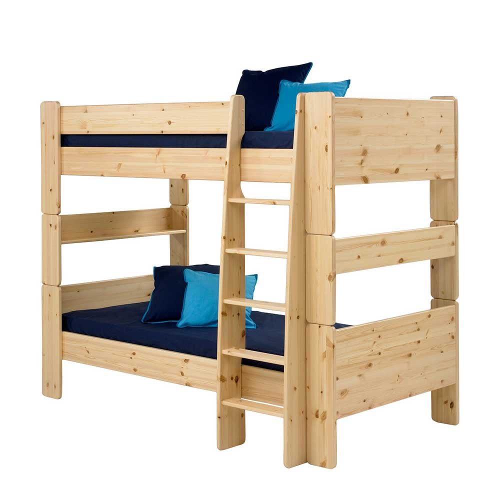 Pharao24 Kinderstockbett aus Kiefer Massivholz lackiert