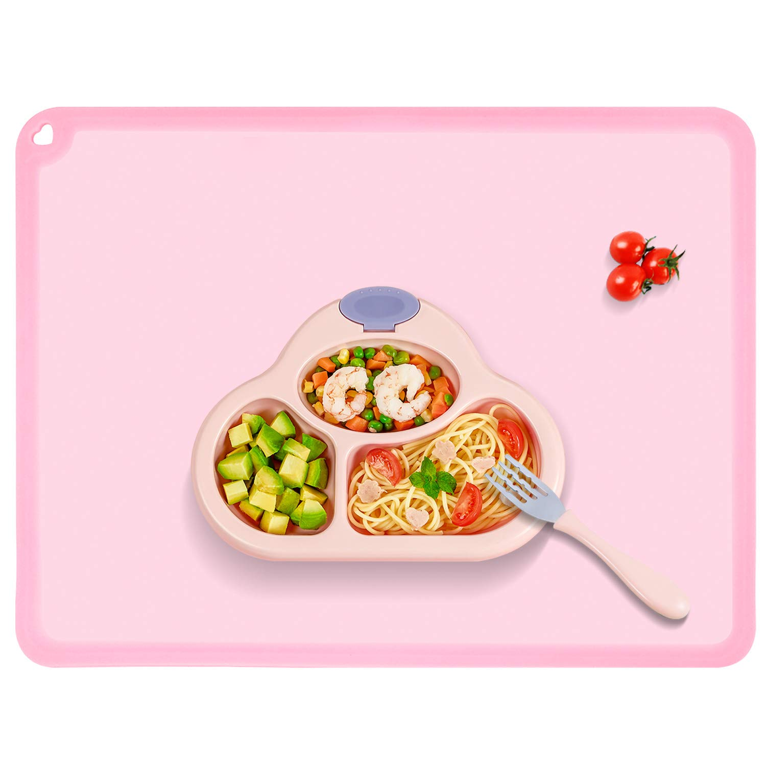 Silicone Kids Placemat, Non-Slip Reusable Placemats for Kids, Baby Dining Food Mat for Children Baby Toddler, Baby Pink