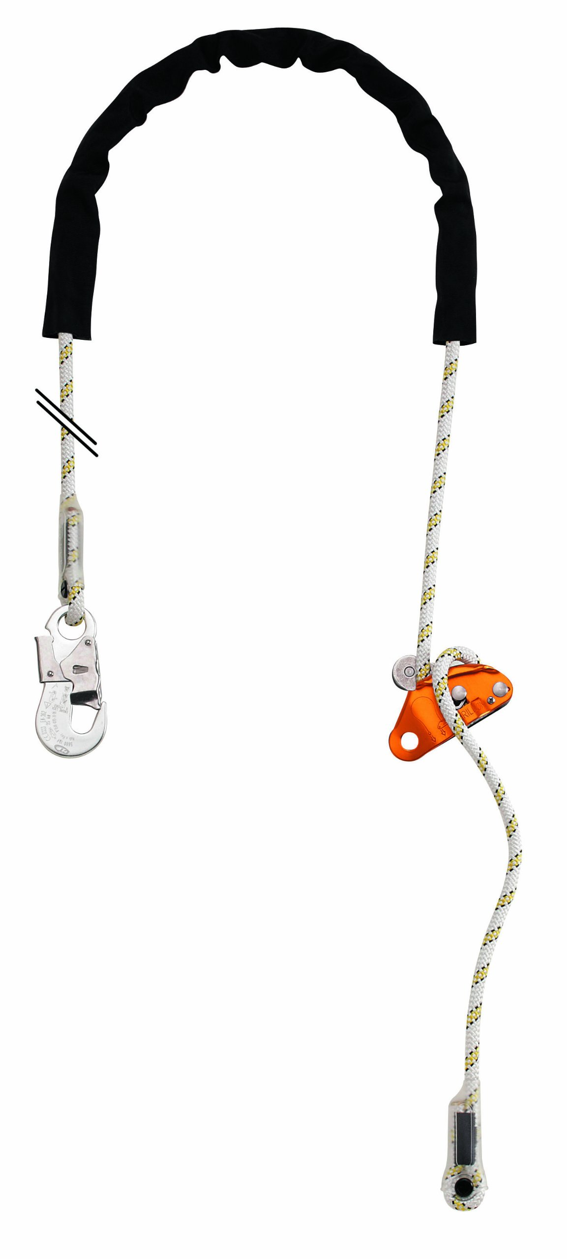 Petzl L52H003 Grillon Hook Adjustable Work Positioning Lanyard, Black/White, Standard by PETZL
