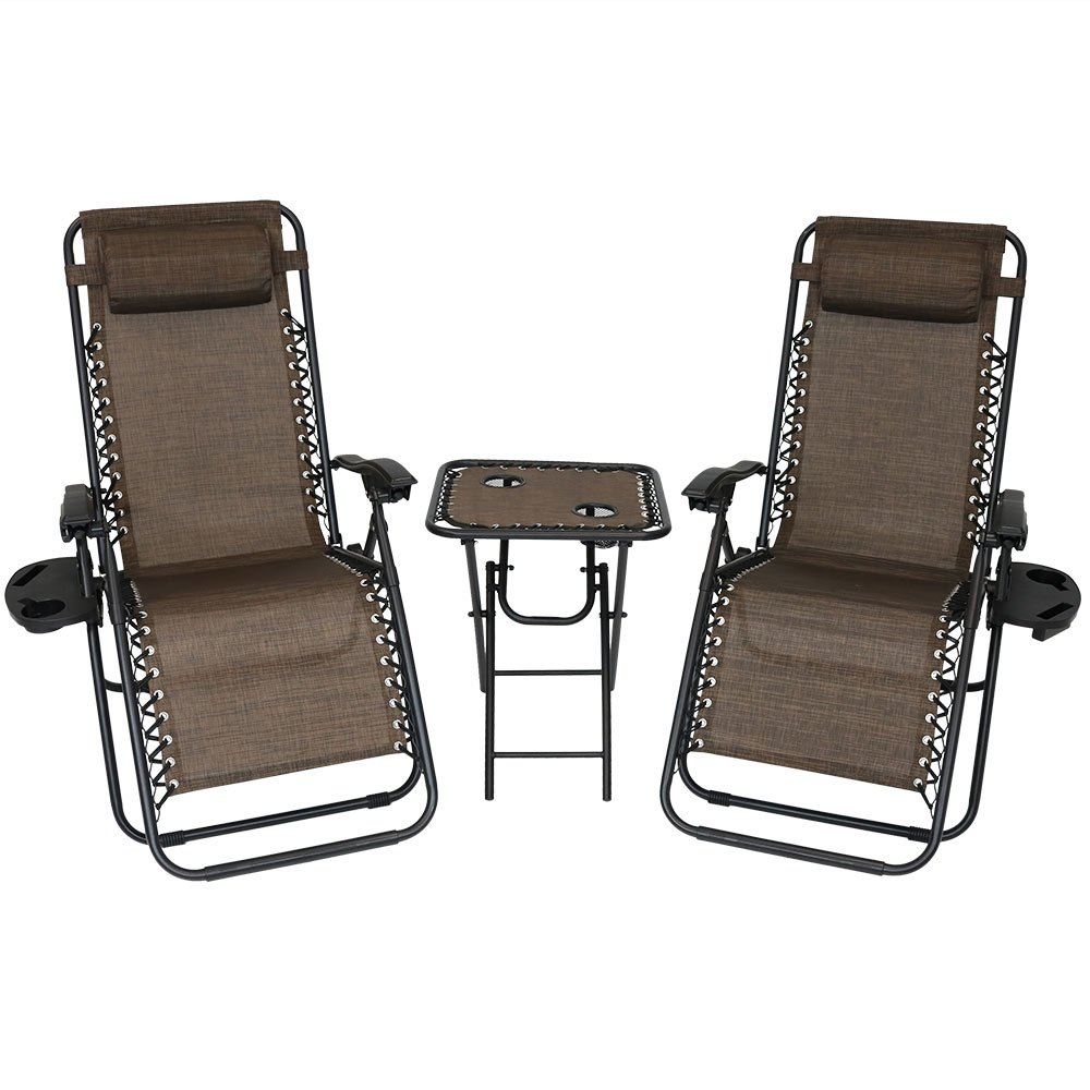 Sunnydaze Outdoor Zero Gravity Reclining Lounge Chairs Set of 2, with Pillows, Cup Holders and Matching Table with Built-in Cup Holders, Dark Brown