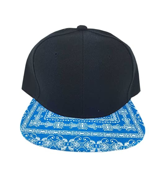 Aesthetinc Classic Paisley Bandana Print Flat Bill Snap Back Cap Hat (Black  Aqua) 9aaf2d12cdc