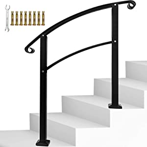 Handrail,3 Step Handrail Adjustable Fits 1 or 3 Steps Mattle Wrought Iron Handrail Stair Rail with Installation Kit Hand Rails for Outdoor Steps,Black