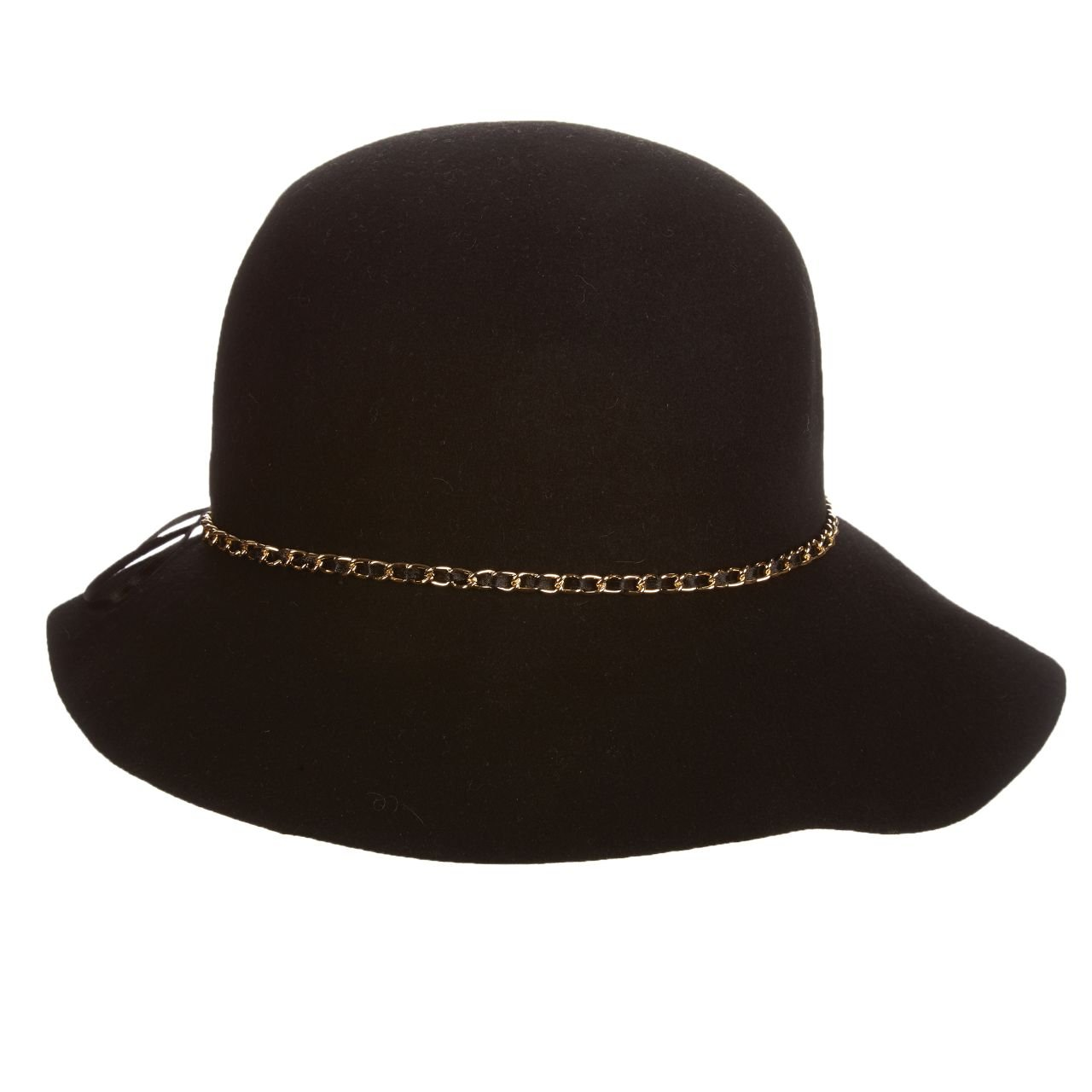 SCALA Wool Felt Cloche with Chain HAT (Black)