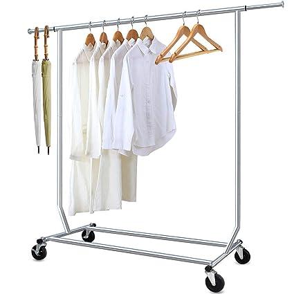 Perchero Burro Perchero de ropa con ruedas Ajustable 130-189cm Capacidad de Carga de 136kg Todo el metal Cromado Con freno