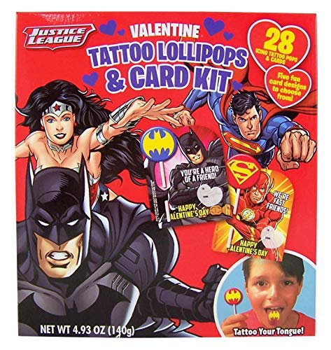 Justice League Super Hero Icing Tongue Tattoo Lollipops and Cards Set, 28 ()