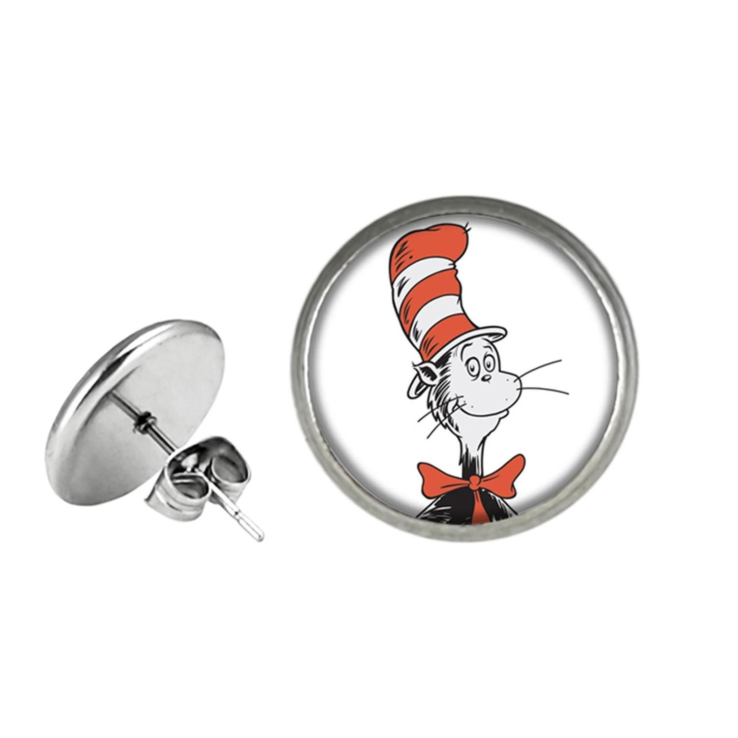 Dr Seuss Post Stud Earrings TV Movies Classic Cartoons Theme Thing 1 an 2 Lorax Cat in the Hat Jewelry