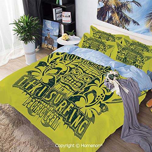 Three-Piece Bed,Tiki Surf Team Longboard Party Grungy Display Hibiscus Flora Art Decorative,Full Size,Include 1 Quilt Cover+2 Pillow case,Apple Green Dark Green