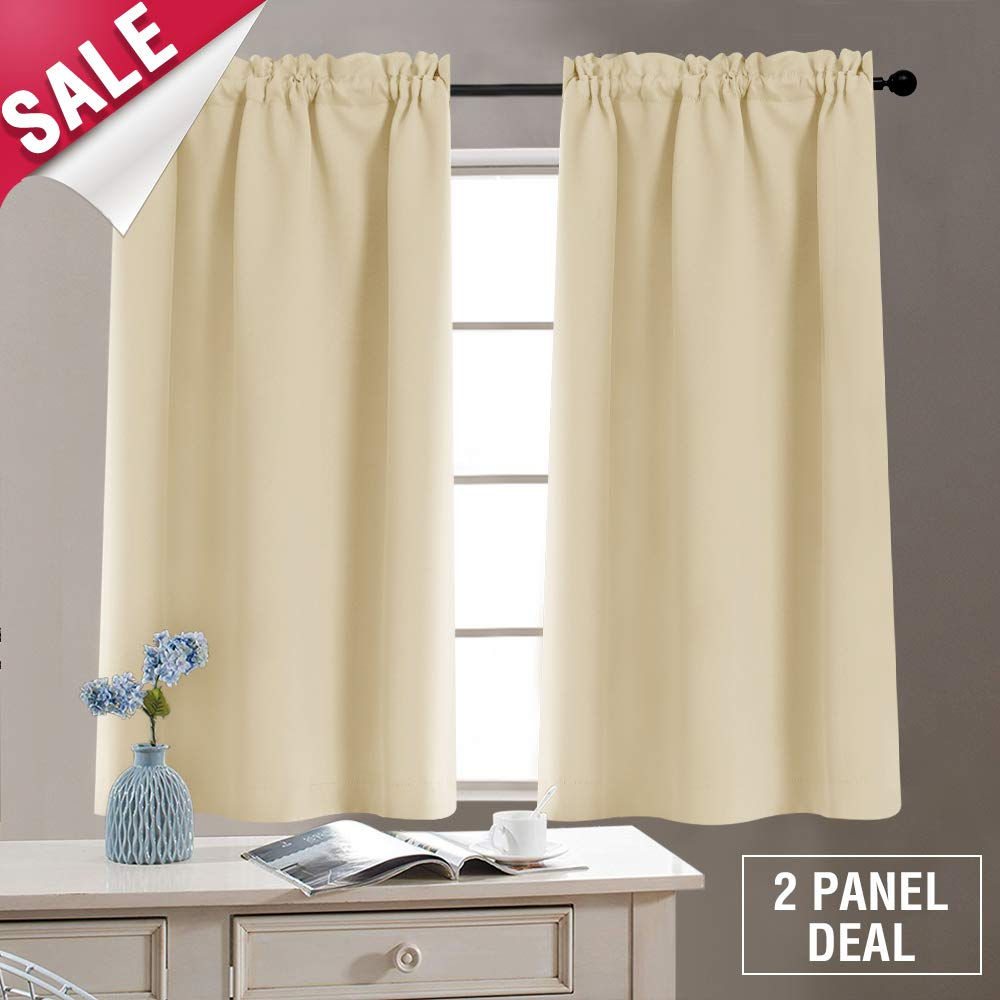 Tier Curtains Blackout Window Curtain Tiers Room Darkening Tiers for Kitchen Windows 40 Inches, Rod Pocket, 2 Panels, Tie Backs Included, Beige