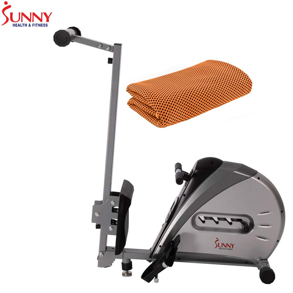 Sunny Health and Fitness Elastic Cord Rowing Machine Rower w/LCD Monitor (SF-RW5606) with Workout Cooling Towel