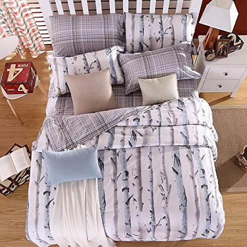 Mumgo Bedding Sets for Adult Art Tree Trunk Pattern Duvet Cover Set 100% Cotton, Full Queen King Set, 4 Pieces -No Comforter,Cover ONLY (King - Cotton Trunk Set