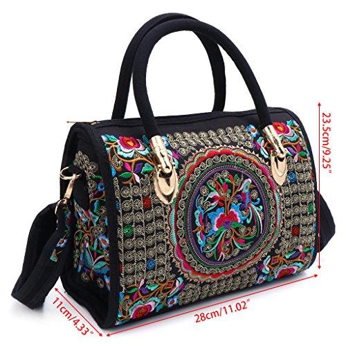 Versatile Wanfor Casual Bag Women 01red Shoulder Handbag Embroidered Large Floral Capacity n6ZqFI6