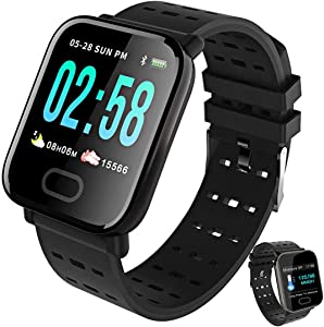 Smart Watch for Android iOS Phones Compatible iPhone Samsung IP68 Swimming Waterproof Smartwatch Sports Watch Fitness Tracker Heart Rate Monitor Digital Watch Smart Watches for Men Women-Black