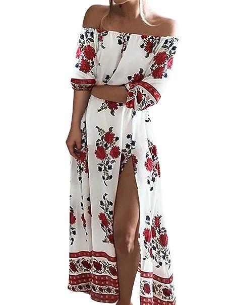 e7400170d4f9 ISASSY Vestiti Donna Eleganti Estivo Lungo Vestito Spalla Nuda Floreale  Spiaggia Abito Pacco Partito Cocktail Bianco M(UK10) (EU38)  Amazon.it  ...