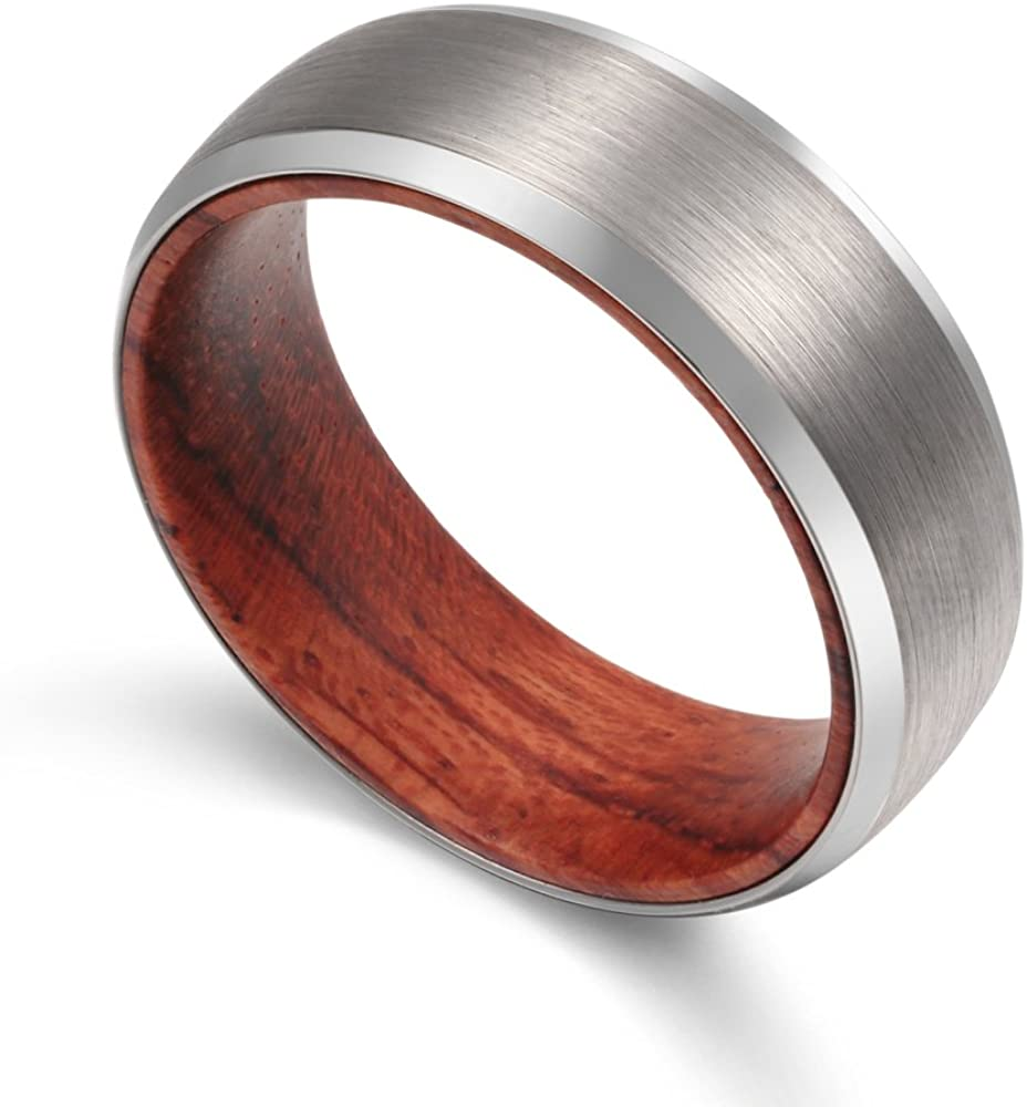 POYA 8mm Men's Tungsten Wedding Band Matte Finish Beveled Edges with Wood Sleeve