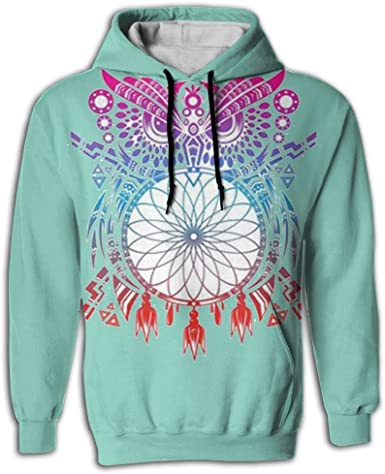 Colorful Paper-Cut Owl Mens Graphic 3D Full Print with Pockets Sweatshirts