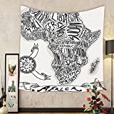 Gzhihine Custom tapestry Sketchy Decor Tapestry Illustration of a Vintage Africa Map with Hand Written Letters Print for Bedroom Living Room Dorm 60WX40L Coconut and Black