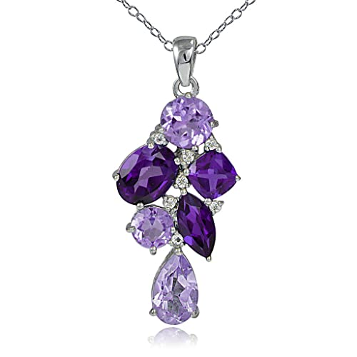GemStar USA Sterling Silver African Amethyst and White Topaz Tonal Cluster Necklace